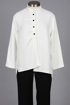 Christopher Calvin - Pleat Placket Shirt - White $122