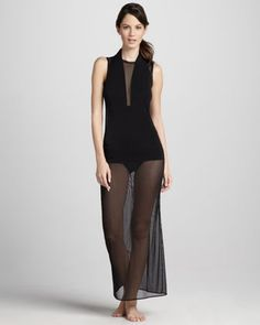 Sheer Open-Back Coverup by Norma Kamali at Neiman Marcus.
