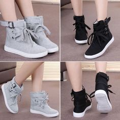 Details about Womens Casual Sneakers Buckle Strap Hiking Flats Lace Up High Top Sports Shoes - sapatos - Zapatos Ideas High Top Sneakers, Hiking Sneakers, Sneakers Mode, Casual Sneakers, Casual Shoes, Shoes Sneakers, Hiking Shoes, Women's Shoes, Trendy Shoes