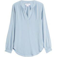 Velvet V-Neck Blouse (€110) ❤ liked on Polyvore featuring tops, blouses, blue, v-neck tops, velvet top, blue blouse, v neck blouse e slimming tops