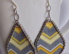 Fabric earrings, yellow earrings, dangly earrings, teardrop earrings, Wire Stitched Earrings, tribal earrings, chevron earrings