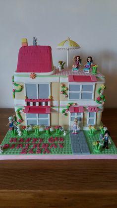 Girly lego house cake