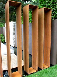 . Terrace Garden, Water Garden, Outside Living, Outdoor Living, Garden Dividers, Weathering Steel, Backyard Water Feature, Steel Fence, Water Features In The Garden