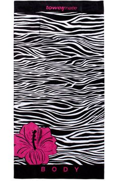 The Ultimate Oversized Luxury Beach Towel by TowelMate. Zebralicious!! Comes with Removable Pillow and 2 zippered pockets! One with areas for keys, wallet, phone. Another for your iPad or book or suncreen. 100% Cotton Velour $52.00