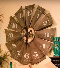 Fan blade large wall clock