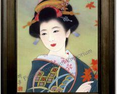 Geisha japonaise Art Print 8 x 10 - femme avec feuilles - femme asiatique - Fine Art