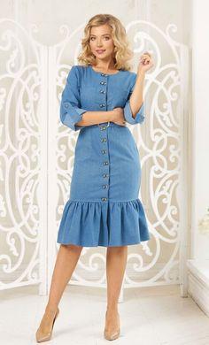 Blue denim dress by Olesya Masyutina. For every day! Comfortable, sewn from elastic cotton jeans of a pleasant blue color! Midi dress with belt. 800 models of knitted and fabric women clothes in casual style, evening and wedding.