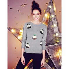 Fashion Union Pudding Xmas Jumper (£20) ❤ liked on Polyvore featuring tops, sweaters, print top, long sleeve sweaters, long sleeve jumper, christmas tops и long sleeve tops