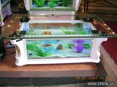 Aquarium Table... So tacky but I had to repin!! Haha