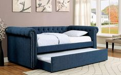 Furniture of America Nellie Tuxedo Style Tufted Flax Daybed with Twin Trundle (Dark Teal), Blue Furniture, Daybed, Room, Daybed With Trundle, Upholstered Daybed, Sofa Styling, Home Decor, Bed, Furniture Of America