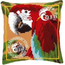 Hot Cross Stitch Cushion Kits Diy Chunky Pillowcase 3D Yarn Embroidery Coussin RED MACAW Decorative Pillows Cojines Needlework(China (Mainland))
