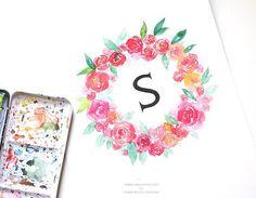 Watercolor Floral Wreath Monogram