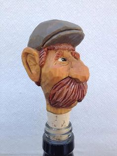 Caricature Head Bottle Stopper Hand Carved Wine by RWKWoodcarving, $75.00