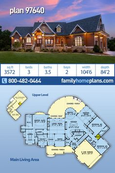 House Plan 97640 - Craftsman, Tuscan Style House Plan with 3572 Sq Ft, 3 Bed, 4 Bath, 2 Car Garage Craftsman Floor Plans, House Floor Plans, Porch Storage, Shingle Siding, Outdoor Island, Family House Plans, Tuscan House Plans, Porch Columns, One Story Homes