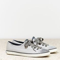 Keds Rally Sparkle Sneaker ($40) ❤ liked on Polyvore featuring shoes, sneakers, grey, grey shoes, lacing sneakers, sparkly shoes, laced sneakers and sparkle sneakers