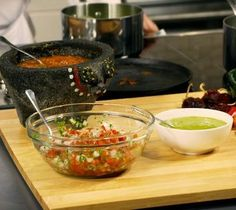 3 Authentic Mexican Salsa Recipes  Video is great!!  A good quality mortar and pestle is important. You can buy one in a Mexican store. Grain or stone needs to be small. Large grain tends to break and can be grainy..It is very heavy stone volcanic dense and small grain on stone..You can polish with large grain salt.  http://cookingschool.epicurious.com/c1-class1.php