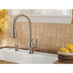 Pfister Hanover Single-Handle Pull-Down Sprayer Kitchen Faucet in Tuscan Bronze-GT529TMY - The Home Depot