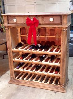 An old chest of drawers upcycled into a wine rack!