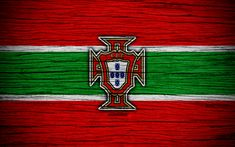 Download wallpapers 4k, Portugal national football team, logo, UEFA, Europe, football, wooden texture, soccer, Portugal, European national football teams, Portuguese Football Federation