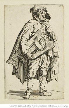 Les gueux , Le joueur de vielle. Estampe de Jacques Callot (1592-1635).