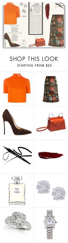 """Floral skirt"" by iamnala on Polyvore featuring mode, Delpozo, RED Valentino, Casadei, Whiteley, Oris, Chanel, Effy Jewelry, Allurez et Chopard"