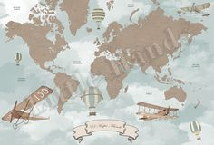 Vintage World Map -- Child's room wallpaper murals from Little Hands.