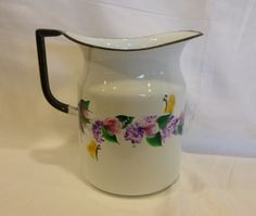Hand Painted Vintage White Enamel Metal by bunnyhutchdesigns, $52.00