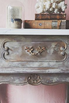 French bedside with faux marble top with the Painted Pearl