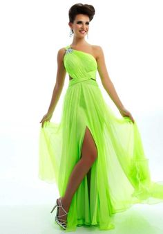 One Shoulder Prom Dresses 2015 Ball Gowns with Slit Criss Cross Straps Ruffled Chiffon Beaded Evening Dresses Green Cheap Bridesmaid Dresses Prom Dresses Under 200, Affordable Prom Dresses, Prom Dresses 2015, Cheap Bridesmaid Dresses, Formal Dresses, Formal Prom, Bridesmaids, Short Dresses, Lime Green Prom Dresses