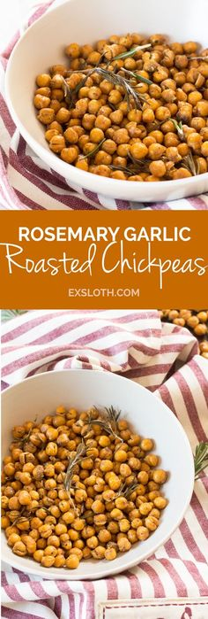 Need a healthy alternative to chips? These crunchy rosemary garlic roasted chickpeas are just as flavourful and are a great protein-filled savoury snack. Healthy Superbowl Snacks, Healthy Vegan Snacks, Vegetarian Recipes Easy, Clean Eating Recipes, Vegan Protein, Cooking Recipes, Snack Recipes, Healthy Recipes, Vegan Food