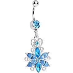 Aqua Gem Heavenly Jasmine Flower Dangle Belly Ring Body Candy Body Jewelry #bodycandy #bodyjewelry
