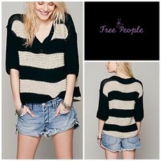 Free People Stripe Pullover Classic nubby sweater with a striped pattern, V-Neck, half sleeves, and subtle Hi-Lo hem.   *92% Cotton  *8% Rayon  *Hand Wash Cold Free People Sweaters