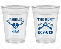 The Hunt is Over, Wedding Soft Sided Cups, Antler Wedding, Deer Antler Wedding, Clear Cups (258)
