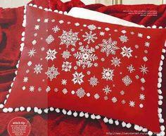 """""""Let It Snow"""" Cross Stitch Pillow ~ Cross Stitch Gold 115 Christmas Patchwork, Christmas Pillow, Christmas Cross, Christmas Stockings, Cross Stitching, Cross Stitch Embroidery, Cross Stitch Patterns, Stitches Wow, Xmas Tree Skirts"""