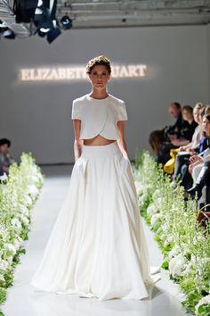 Wedding Dress of the Day: Elizabeth Stuart 'Moonflower', A modern crop-top two-piece wedding gown. 2015 Bridal Looks. Two Piece Wedding Dress, Wedding Dresses 2014, Designer Wedding Dresses, Wedding Gowns, Wedding Blog, Wedding Skirt, Gown Designer, Modest Wedding, Wedding 2015