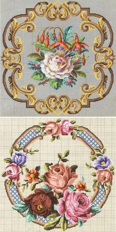 Вышивка крестом — красивые старинные схемы Petit Point - Ярмарка Мастеров - ручная работа, handmade
