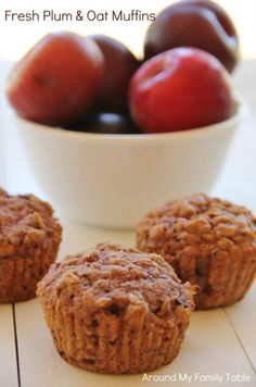 Fresh Plum & Oat Muffins 24 pcs large plums, pitted 2 sticks cup total) butter, softened 2 cups brown sugar 2 eggs 2 tsp salt 2 tsp vanilla 2 tsp cinnamon 1 tbls baking powder 3 cups old fashioned rolled oats 2 cups whole wheat flour Preheat oven to Fruit Recipes, Muffin Recipes, Breakfast Recipes, Cooking Recipes, Plum Recipes Muffins, Plum Bread Recipe, Plum Recipes Healthy, Sugar Plum Recipes, Recipes