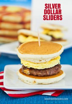 Silver Dollar Sliders.  Perfect little pancake sandwiches.