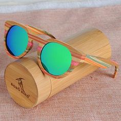 4a92d82d4a5 BOBO BIRD Bamboo Round Sunglasses Polarized