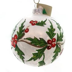 Tannenbaum Treasures Holly On White Icy Ball Glass Ornament - SBKGifts.com Handpainted Christmas Ornaments, Christmas Ornament Crafts, Hand Painted Ornaments, Snowman Ornaments, Diy Christmas Crafts To Sell, Christmas Store, Christmas Balls, Snowflake Decorations, Christmas Tree Decorations