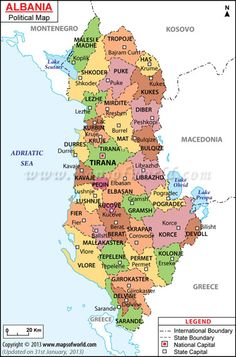 Political Map of Albania. Albania, on Southeastern Europe's Balkan Peninsula, is a small country with Adriatic and Ionian coastlines and an interior crossed by the Albanian Alps. (V)