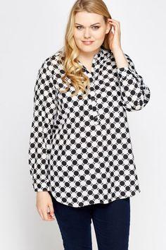 Mono Printed Blouse #dress #plussize #summer #fashion