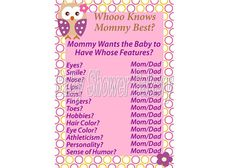 Printable Owl Baby Shower Game Who Knows Mommy by BabyShowerBakery