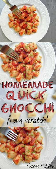 Delicious Homemade Quick Gnocchi that uses instant mashed potatoes and comes together much easier than traditional Gnocchi. Serve with your favorite sauce! #vegan #healthy #meatlessmonday