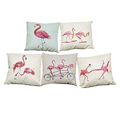 Set of 5 Movement Flamingos  pattern Linen Pillow Case Bedroom Euro Pillow Covers 18x18 inches  Cushion cover – GBP £ 35.19