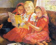 Reading Girls Artist: Nikolay Bogdanov-Belsky Style: Impressionism Genre: genre painting Tags: reading-and-writing Interaction A. Girl Reading, Reading Art, Reading Books, School Portraits, Book People, Reading Rainbow, Chica Anime Manga, Paintings I Love, Russian Art