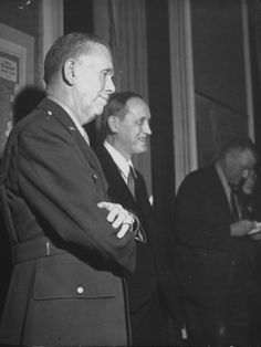 General George C. Marshall and Harry Hopkins at a Press Conference