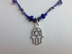 Hamsa and Star of David dangle from beaded blue by MiiMyxJewelry, $36.00
