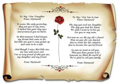 Joint Poem To My / Our Daughter and Son in Law on Your Wedding Day Gift Mother Poems From Daughter, Prayer For Mothers, Daughter In Law, Daughter Quotes, Daughters, Wedding Day Quotes, Wedding Poems, On Your Wedding Day, Wedding Sayings