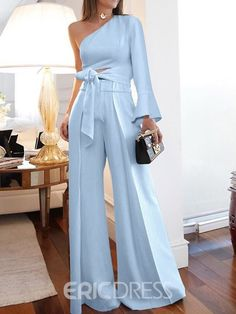 Plain Full Length Lace-Up Wide Legs Slim Jumpsuit Miami Outfits, Stylish Outfits, Graduation Outfits For Women, Dresses To Wear To A Wedding, Mode Chic, Looks Chic, Jumpsuits For Women, Fashion Jumpsuits, Women's Fashion Dresses